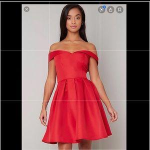 Chi Chi London fold over Bardot midi dress NWT